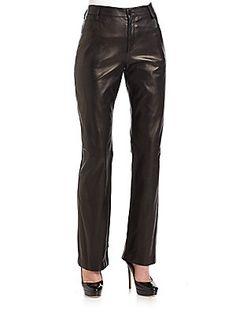 Giorgio Armani Straight-Leg Lamb Leather Pants