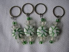Stitch markers set of 4 green and white by KatKeRosCorner on Etsy, $12.00