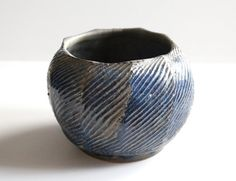 Textured Blue Gray Ball Vase by bryancronk on Etsy