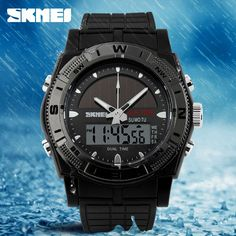 SKMEI 0981 Solar Power Sports Watches LED Digital Quartz Military Watch Dual Display Water Resist Wristwatch Travel Kits