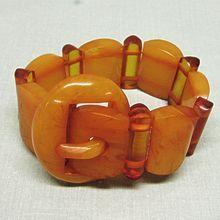 Art Deco Butterscotch Bakelite Belt Buckle Link Bracelet 1930's