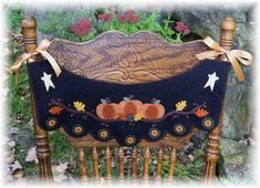 Pumpkin Patch Penny Rug Chair Swag with by pennylaneprims on Etsy, $4.50