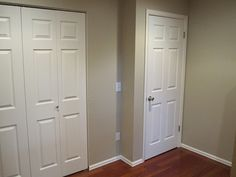Benjamin Moore's Grant Beige (wall color) and White Dove (trim) - bedrooms