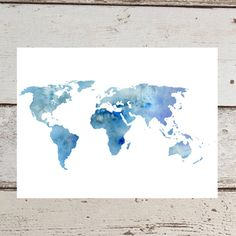 Printable World Map Water Color Print Printable Blue by CatStacher