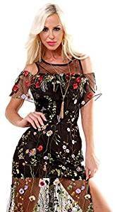 Organza Kleid FLORAL - bestickte Tüllspitze - Volantblende