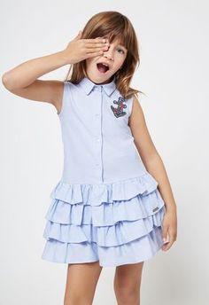 Conguitos lookbook SS18, colección de moda para niñas African Dresses For Kids, Little Dresses, Little Girl Dresses, Girls Dresses, Kids Frocks, Frocks For Girls, Toddler Dress, Baby Dress, Kids Dress Wear