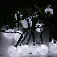 Crystal Ball Waterproof String Lights Solar Powered Fairy Lighting for Garden Home Landscape Holiday Decorations(white)