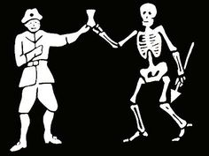 This is Black Bart's pirate flag. Black Bart (Bartholomew Roberts) was a Welsh Pirate. He was the most successful pirate of his time, based on the many ships he raided.
