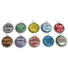 Vintage Bottle Cap Pendants-10 Different Caps
