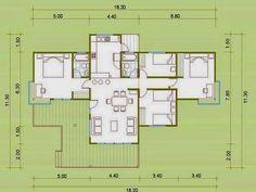 Planos de Casas: mostrar planos de casas 3 Bedroom House, Plan Design, House Plans, Floor Plans, House Design, How To Plan, Architecture, Ideas, Model House