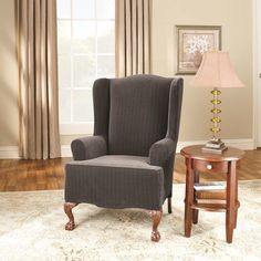 Sure Fit Stretch Pinstripe Wing Chair Slipcover Black - 39061 Decor, Furniture, Slipcovers For Chairs, Deck Chairs, Chair, Home Decor, Boho Chair, Dining Chairs, Wing Chair