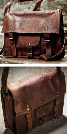 Men's Style | Leather Tote Bag | Leather Weekend Satchel | Vintage Indiana Jones Bag
