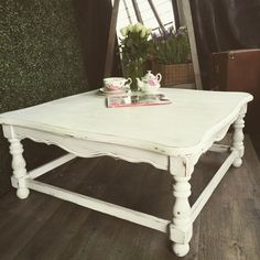 Vintage white square coffee table. https://www.facebook.com/pages/Old-Favourites/533049253526229