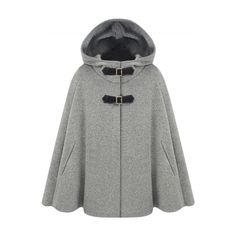 Winter Wool Blend Hooded Cape Cloak Coat (160 BRL) ❤ liked on Polyvore featuring outerwear, coats, cape cloak, hooded cloak coat, hooded coat, cloak cape and hooded cape coat