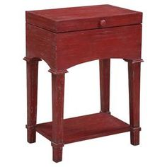"Distressed end table in raspberry.Product: End table   Construction Material: Wood     Color: Raspberry    Features: Top lifts for storage    Dimensions: 27.75"" H x 20"" W x 14"" D      Note: Assembly required"