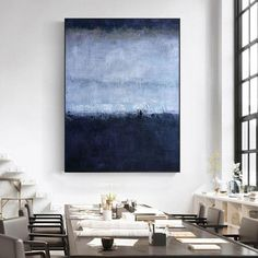 Large abstract painting on canvas oversized contemporary wall | Etsy Blue Abstract Painting, Acrylic Paintings, Oversized Wall Art, Large Canvas Art, Extra Large Wall Art, Contemporary Wall Art, Living Room, Stretching, Design