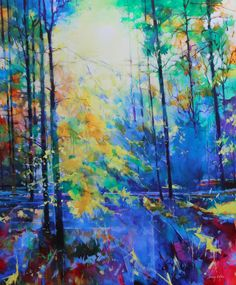Soudley Bluebells, acrylic on canvas, semi abstract landscape painting of the Forest of Dean by Doug Eaton