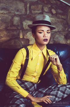 Rude Girl 5 by Michela-Riva.deviantart.com on @DeviantArt rudegirl, rudeboy, ska, elegant, jamaica, woman, girl, woman, black, blackmodel, model, makeup, styling, style, indoor, yellow, masculine, hat, light, fashion, editorial, italy, madeinitaly, 1970, 70s, retro, vintage, gangstar, female