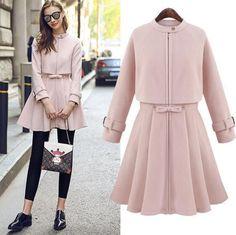 Sweet Women Vogue Trend Zipper Womens 2016 Spring Long Dress Slim Fit Pink Wool Kpop Fashion, Cute Fashion, Hijab Fashion, Fashion Dresses, Womens Fashion, Street Fashion, Vogue Trends, Coats For Women, Clothes For Women