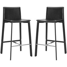 @Overstock - Refresh your space with these stylish black leather bar stools. Featuring a 30-inch seat height and steel frame, this set of two bar stools has leather upholstery and a transitional leg design that will give any décor a modernized feel.http://www.overstock.com/Home-Garden/Madison-Ave-30-inch-Black-Leather-Bar-Stool-Set-of-2/6459337/product.html?CID=214117 $184.99
