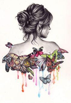 chica espalda con mariposas