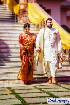 Bookmark These Dashing Looks Of South Indian Grooms That Stole The Show. For more such groom inspirations, stay tuned with shaadiwish. Indian Wedding Wear, Indian Wedding Couple, Indian Wedding Photos, Indian Bride And Groom, Punjabi Wedding, Wedding Sarees, South Indian Wedding Hairstyles, South Indian Weddings, South Indian Bride