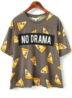 Shop Pizza Print Loose T-shirt at ROMWE, discover more fashion styles online. Cute Teen Outfits, Teenager Outfits, Outfits For Teens, New Outfits, Trendy Outfits, Cool Outfits, Summer Outfits, Girls Fashion Clothes, Teen Fashion Outfits