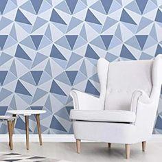 Amazon.co.uk: navy wallpaper Geometric Wallpaper Silver, Blue Geometric Wallpaper, Navy Wallpaper, Brick Wallpaper, Geometric Designs, Decoration, Accent Chairs, House Design, Diy