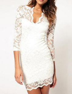 Lovely Lace White OL Style V-neck Sheath Three Quarter Mini Office Lady Dresses
