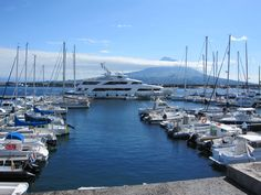Horta harbor with Pico island in the background - Azores.com #Portugal
