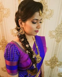 looking gorgeous for her engagement :) loved working with her and her adorable mom❤️ MUA has enhanced this… Wedding Saree Blouse Designs, Pattu Saree Blouse Designs, Fancy Blouse Designs, Saree Hairstyles, Indian Bridal Hairstyles, Stylish Blouse Design, My Hairstyle, Marie, Work Blouse