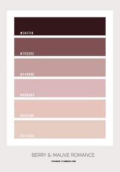 Berry and Mauve Romance Bedroom Hex Color Palette, Pink Color Schemes, Pink Palette, Mauve Color, Brown Bedroom Colors, Grey Colour Scheme Bedroom, Earth Tone Bedroom, Earth Tone Colors, Earth Tones