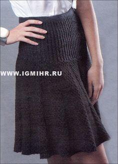 Офисный шик! Черная юбка на кокетке и с клиньями. Спицы