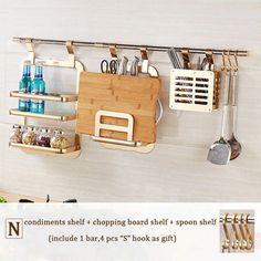 Wall Shelf Kitchen Storage Rack Including Double Flavoring Rack Chopstick  Holder Pot Cover Shelf Chopping Board Shelf Yg T986K