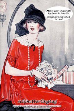 1921+Flapper+Millinery+Book+Hat+Making+Make+by+schmetterlingtag,+$16.99