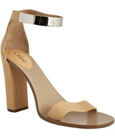 style #316609301 nude leather metal ankle strap sandals