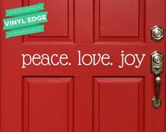 Peace Love Joy Vinyl Door Decal  Christmas Door by VinylEdgeDesign