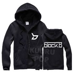 Block B Hoodie  Feel Very Good in a Block B hoodie! These high-quality and cosy hoodies are just like the ones worn by the boys. They feature 'b' printed in white on the chest and the Block B logo on the back. Looks great zipped up or down.
