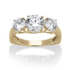 3.60 TCW Round Cubic Zirconia 10k Yellow Gold 3-Stone Engagement/Anniversary Ring on PalmBeach Jewelry