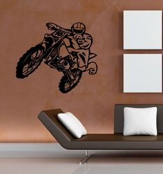 WALL VINYL STICKER  DECALS ART MURAL BIKE CHOPPER MOTORCYCLE STUNT RACING M547 #MuralArtDecals