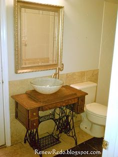 I have the table, now all i need is the vessel sink!  so doing this to my upstairs bathroom!