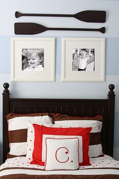 Striped wall, oars, nice bed in boys room. I like the photos too but I would use photos of my boys with their grandparents and great grandparents, not pictures of themselves!
