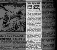 Santa Barred From Annual Christmas Parade at Reading - 1950