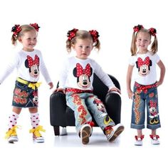 OMG outrageously cute! I can just picture this. Minnie mouse Disney Boutique custom painted M-USE SET 12 18 24 2 3 4 5 6 7 8 9 10 capri jean or skirt set ETSYKIDS via Etsy. $70