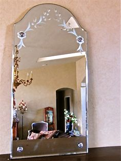 Victorian Etched Antique Mirror  www.parispanacheantiques.com
