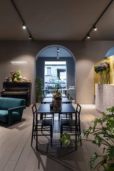 Architecture office Storage Associati designed Potafiori, a restaurant and a flower shop located in Milan, Italy and completed in Read More… Restaurant Interior Design, Shop Interior Design, Retail Design, Pub Interior, Restaurant Interiors, Flower Shop Interiors, Milan Design Week 2017, Flower Shop Design, Cafe Concept