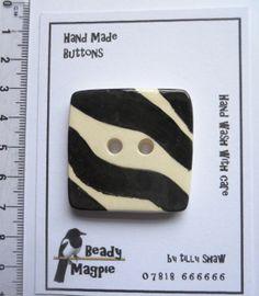 Ceramic Button Large 4cm Square ZEBRA DESIGN  by BeadyMagpie, £8.50
