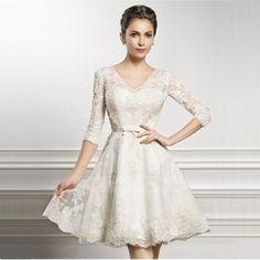 Romantic Sexy 2015 Bride Dresses Casamento A Line V Neck Sleeve Lace Wedding Dress Short Plus Size Vestidos De Noiva Curto Renda