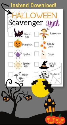 Halloween Scavenger Hunt | Toddler Friendly | Instant Download
