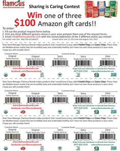 Need our chips but can't find them nearby? Join our Sharing is Caring contest by giving this product request slip to 3 grocers of your choice and following the contest directions! You'll be entered to win one of three $100 Amazon gift cards!